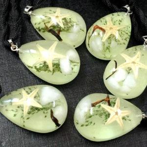 FREE SHIPPING 12 Pendant Real Starfish MINI Taxidermy Glow in the dark Drop Resin Jewelry
