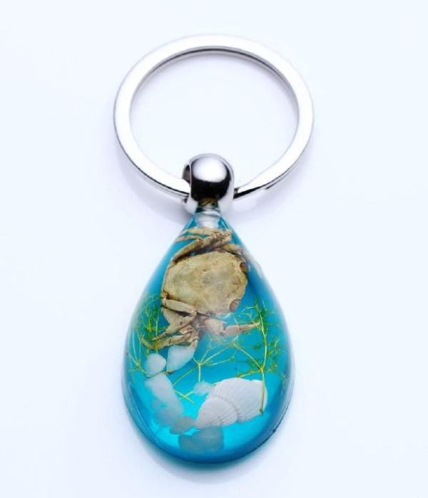 FREE SHIPPING 20 PCS REAL CRAB LUCITE KEYRING KEYCHAIN MARINE INSECT JEWELRY TAXIDERMY GIFT