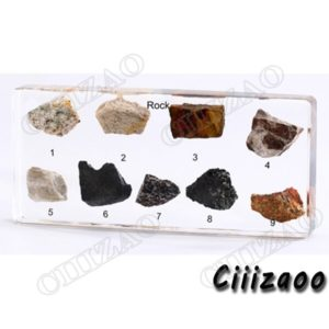 Rock Collection Specimen paperweight Taxidermy Collection embedded In Clear Lucite Block Embedding Specimen