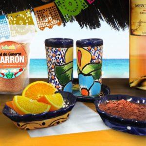 Talavera Mezcal Salt Tray & Shot Glass Set